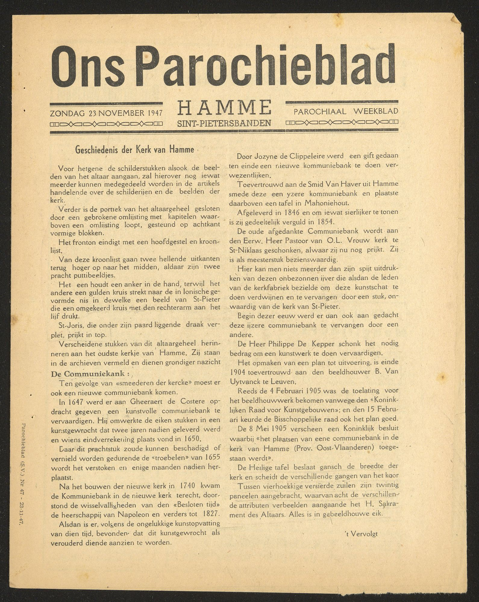 ONS PAROCHIEBLAD 1947-11-23 p1