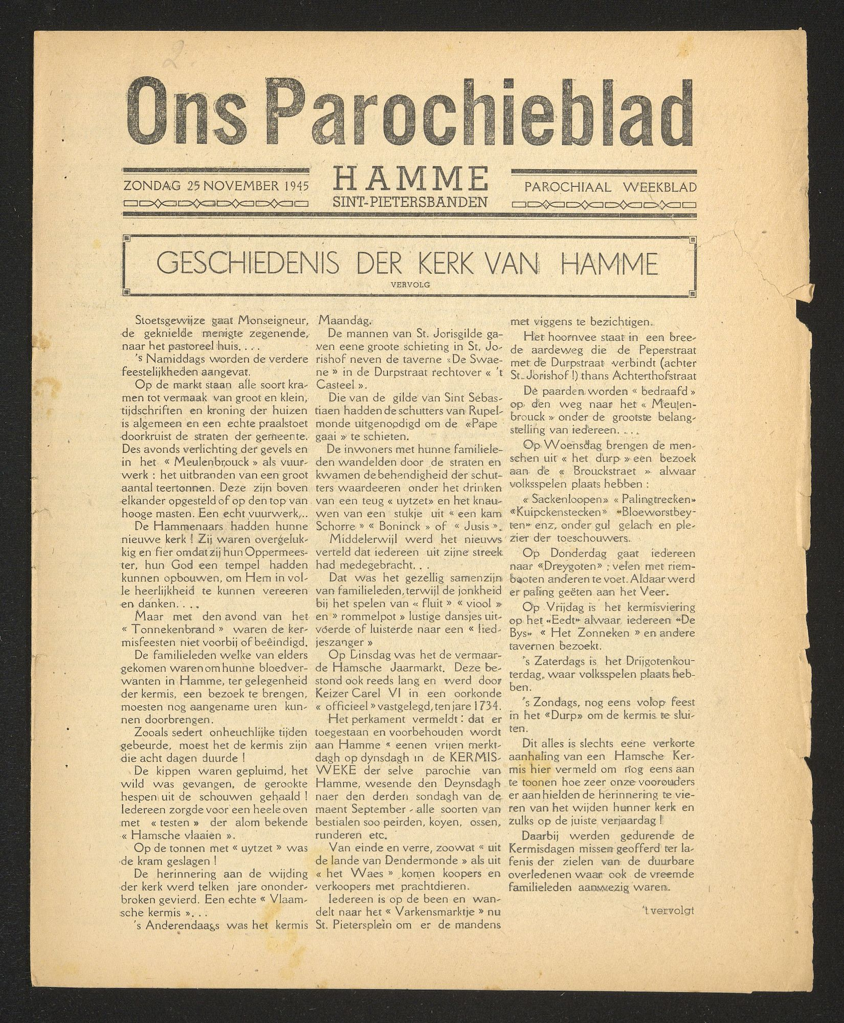 ONS PAROCHIEBLAD 1945-11-25 p1