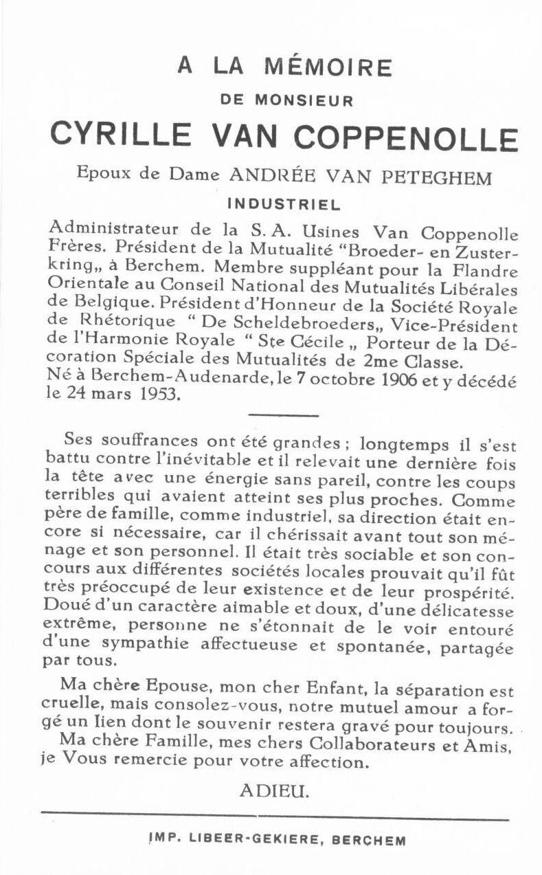 EK 1766 Bidprentje van Cyrille Van Coppenolle, tekstzijde