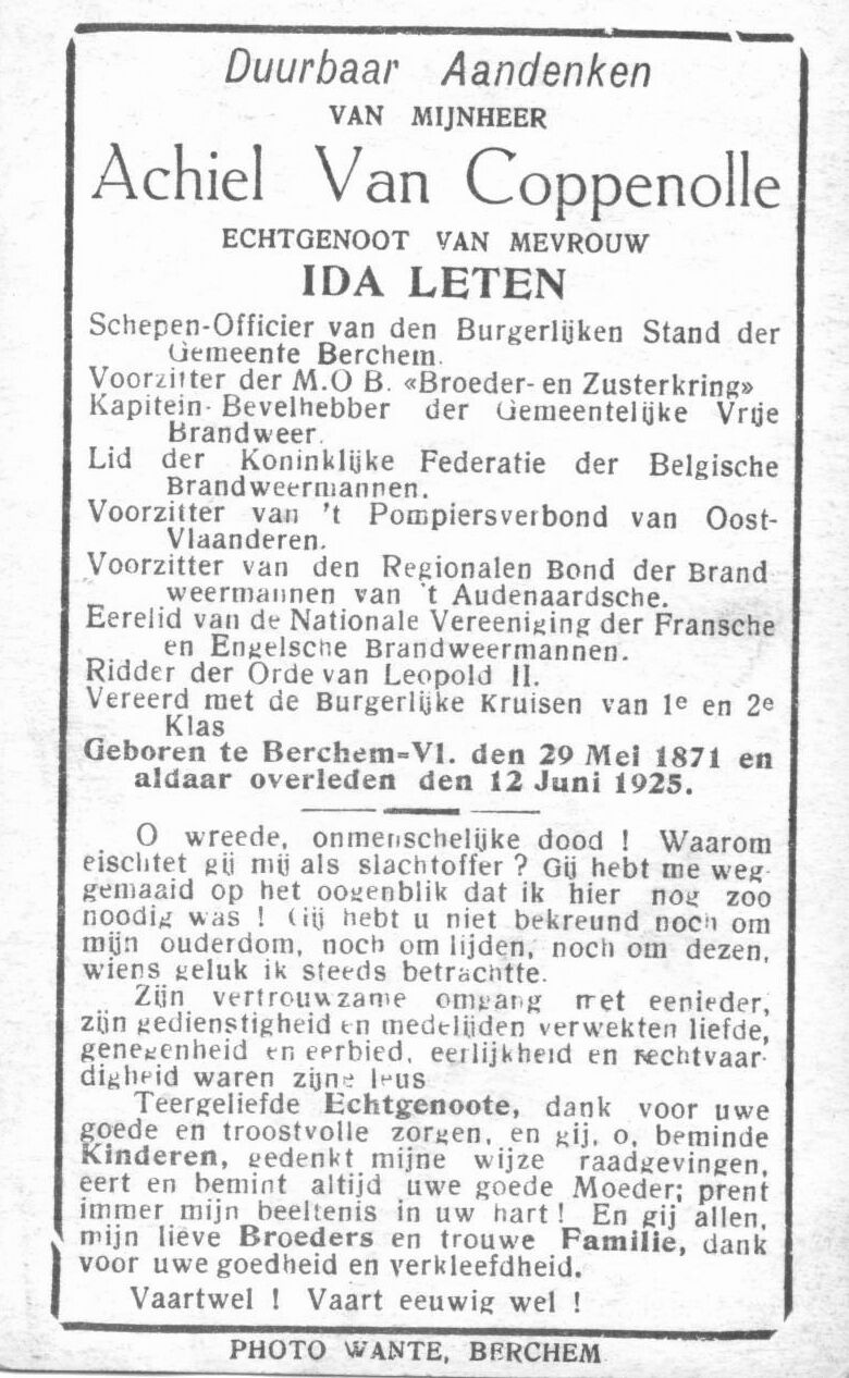 EK 1756 Bidprentje Achiel Van Coppenolle tekstzijde