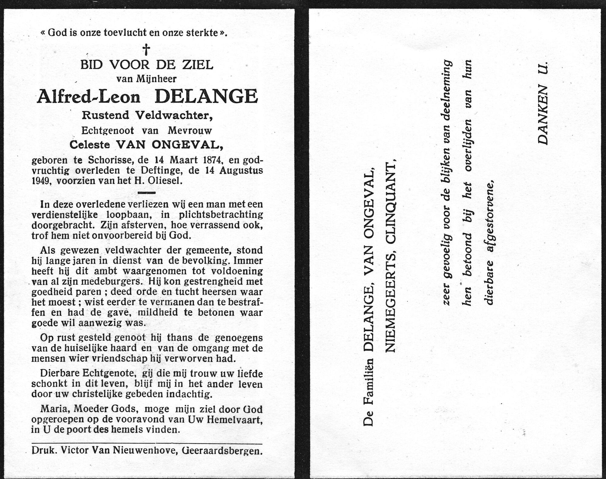 LIBidprentje veldwachter Delange Deftinge