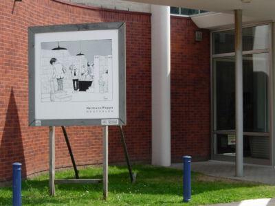 Cartoons : Fietsroute langs de panelen van de bib.