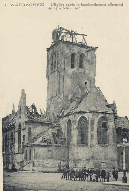 Kerk Waregem bombardement WOI
