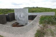 Betonnen replica van een WOI-kanon.
