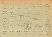 Pompkaart, uitgereikt door het arrondissementscommissariaat van Ieper, met bonnen voor het verkrijgen van in totaal 100 liter benzine