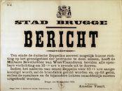 Tekstaffiche uit de Eerste Wereldoorlog met de aankondiging door de burgemeester van Brugge van het bevel van de Provinciecommandant om de openbare verlichting te doven vanaf 22.30 uur, 26 september 1914