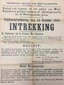 Aankondiging door Gouverneur van Outryve d'Ydewalle van de intrekking van de politieverordening waarbij een verbod werd ingesteld om het gebied tussen de afleidingskanalen en de Nederlandse grens te betreden, 20 november 1944.