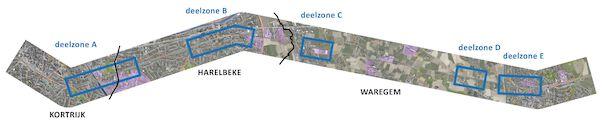 Overzicht deelzones fietssnelweg