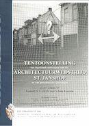 Affiche van de tentoonstelling van ingediende ontwerpen voor de architectuurwedstrijd St. Janshof en van gerealiseerde rijwoningen
