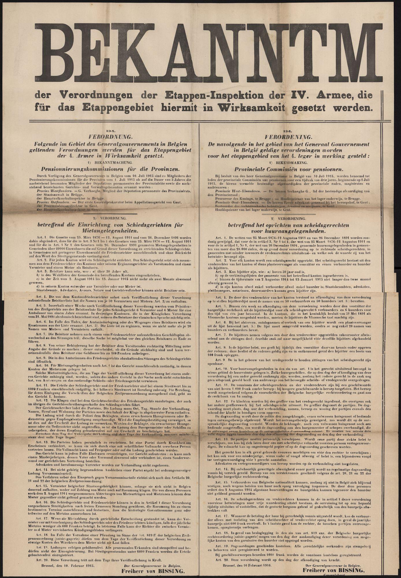 Tekstaffiches Wereldoorlog I